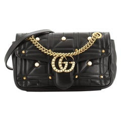 Gucci Pearly GG Marmont Flap Bag Embellished Matelasse Leather Small