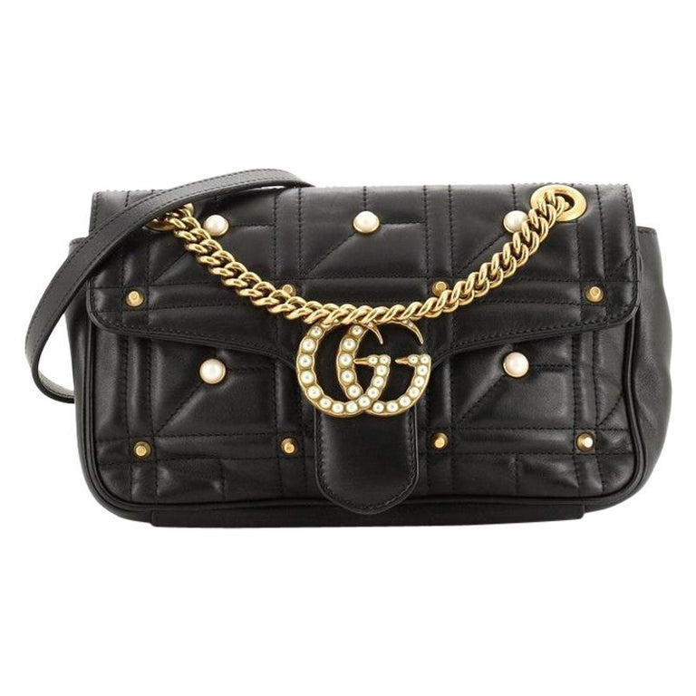 Gucci Pearly GG Marmont Flap Bag Embellished Matelasse Leather Small For Sale