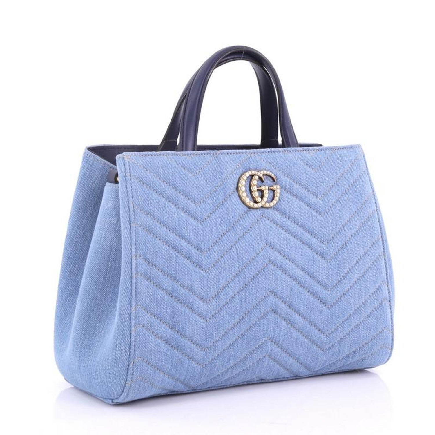 60ee2ef5d Gucci Pearly GG Marmont Tote Matelasse Denim Small at 1stdibs