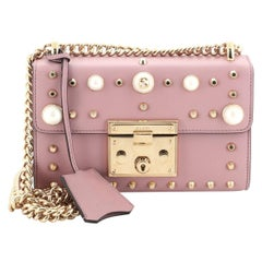 Gucci Pearly Padlock Shoulder Bag Studded Leather Small