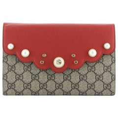 Gucci Pearly Peony Clutch GG Coated Canvas and Leather