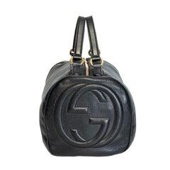 Gucci Pebbled Calfskin Medium Soho Boston Black Handbag
