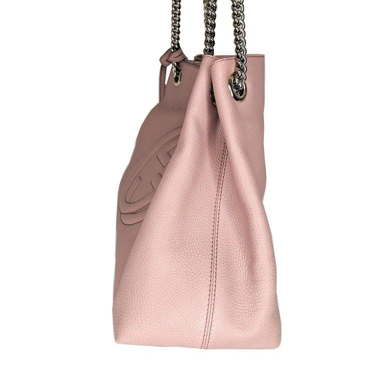 Brown Gucci Pebbled Calfskin Medium Soho Chain Shoulder Bag For Sale