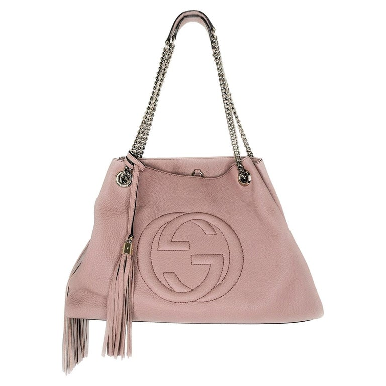 Gucci Pebbled Calfskin Medium Soho Chain Shoulder Bag For Sale