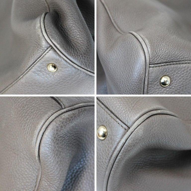 Gucci Pebbled Leather Large Brown Handbag And Shoulder Bag For Sale 6