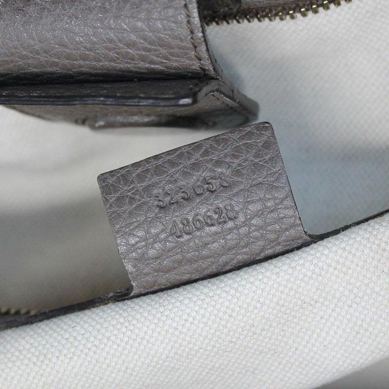 Gucci Pebbled Leather Large Brown Handbag And Shoulder Bag For Sale 7