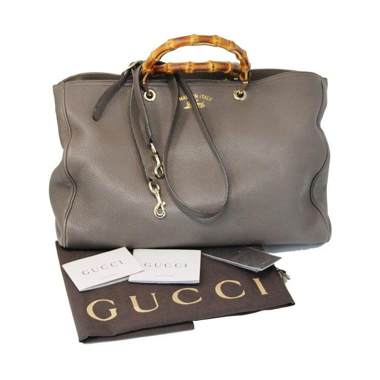 Gucci Pebbled Leather Large Brown Handbag And Shoulder Bag For Sale 8