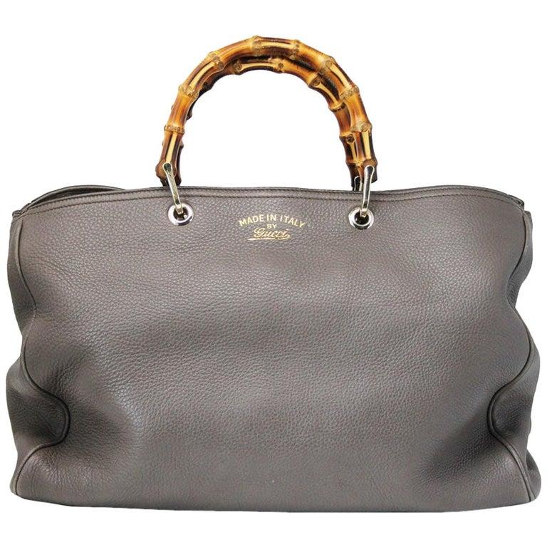 Gucci Pebbled Leather Large Brown Handbag And Shoulder Bag For Sale