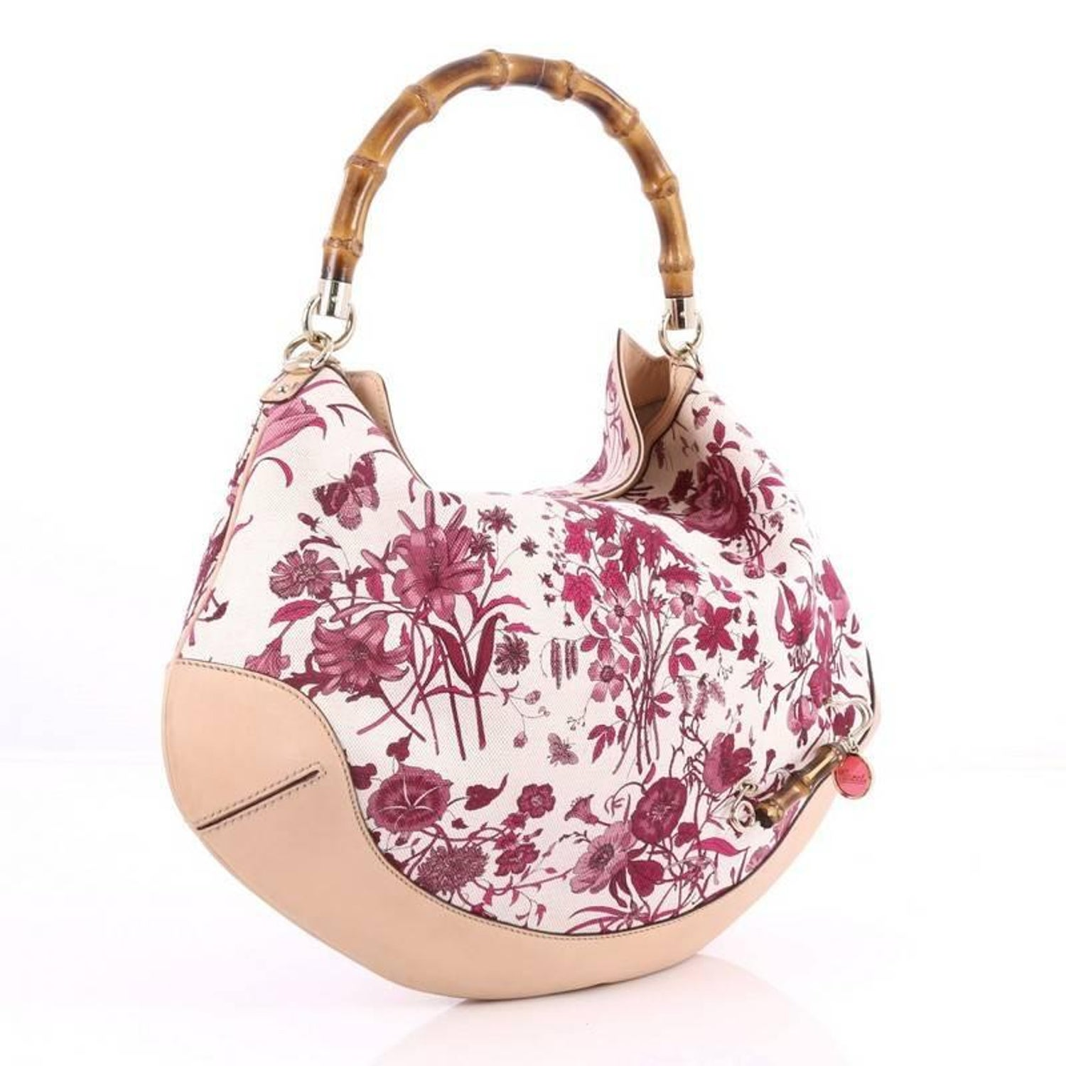 4bc7758d4f4 Gucci Peggy Bamboo Handle Hobo Flora Canvas at 1stdibs