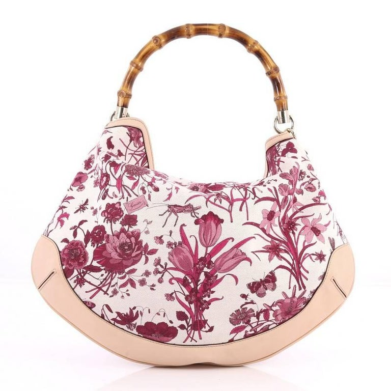Gucci Peggy Bamboo Handle Hobo Flora Canvas At 1stdibs