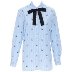 GUCCI Peter Rabbit blue white striped print grosgrain bow long sleeve shirt IT42