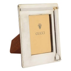 Gucci Picture Frame Silver Plate Brass Stirrup Double G Signed, Italy, 1970s