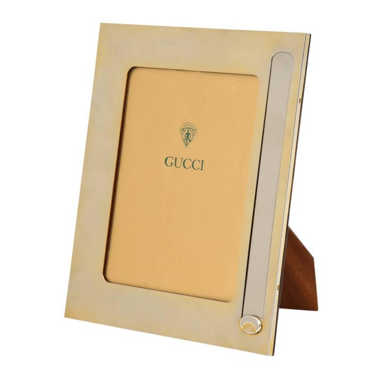 Italian Gucci Gold Plated Silver Plate Picture Frame Desk