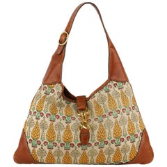 Gucci Pigna Pineapple Canvas Jackie O Bouvier Hobo Bag