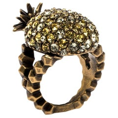 Gucci Pineapple Motif Multi Color Crystal Studded Gold Tone Ring Size 54