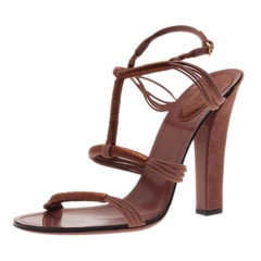 Gucci Pink and Bronze Suede Sandals Size 40