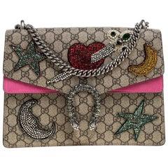 Gucci Pink/Beige GG Supreme Canvas &  Suede Medium Crsytal Dionysus Shoulder Bag