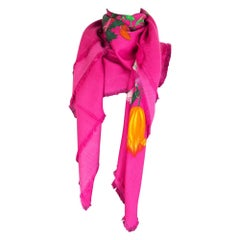 GUCCI pink cashmere silk ALL FLUO FLORA Shawl Scarf