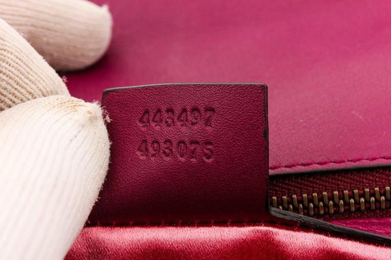 Gucci Pink Chevron Velvet GG Marmont Matelassé Shoulder Bag For Sale 1