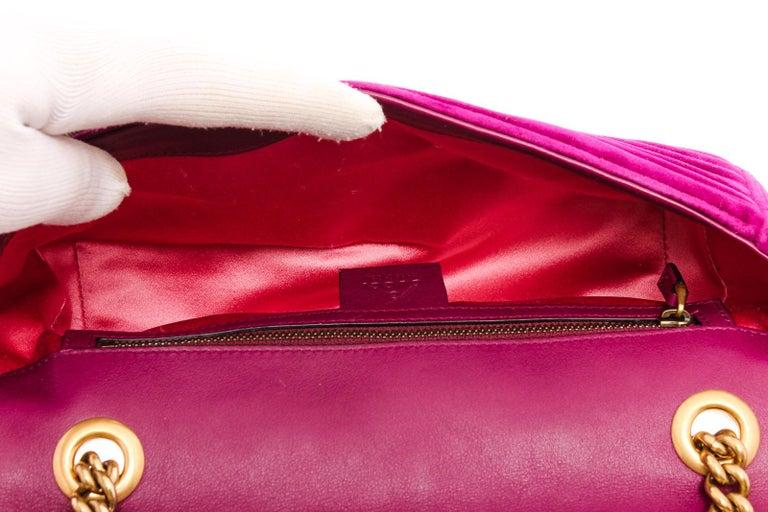 Gucci Pink Chevron Velvet GG Marmont Matelassé Shoulder Bag For Sale 2