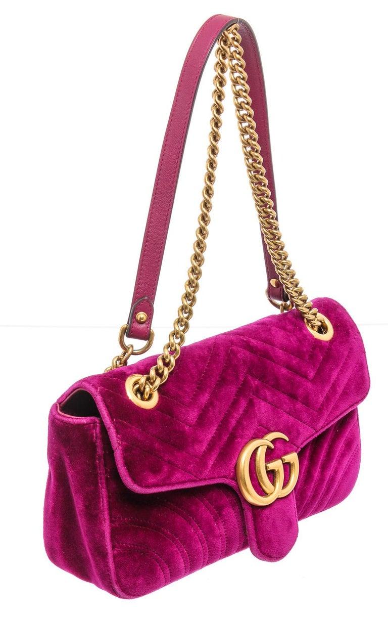 Gucci Pink Chevron Velvet GG Marmont Matelassé Shoulder Bag For Sale 3