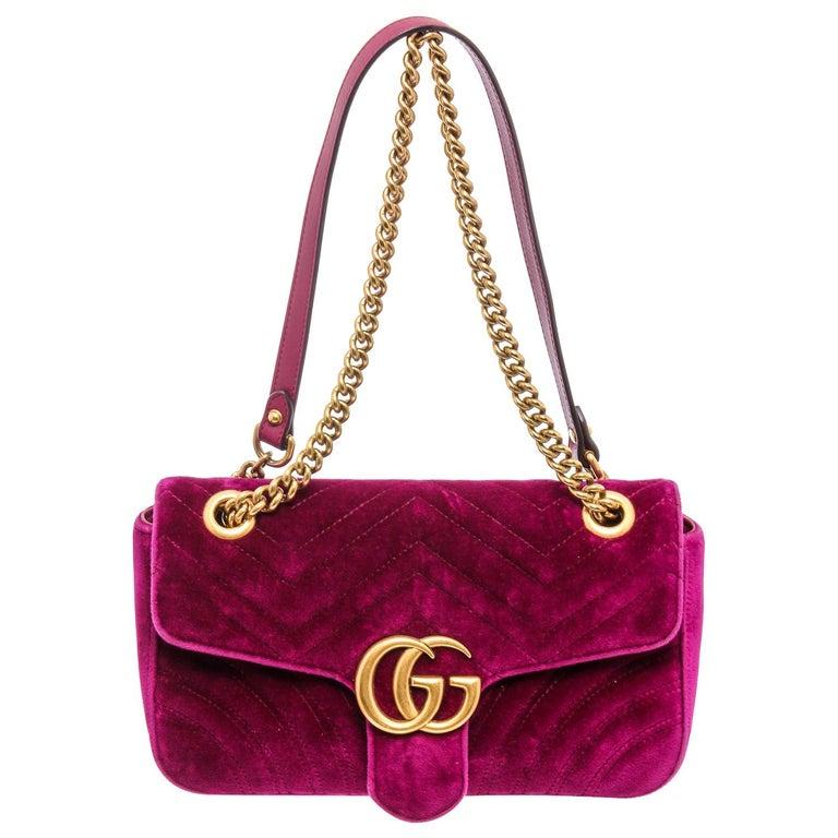 Gucci Pink Chevron Velvet GG Marmont Matelassé Shoulder Bag For Sale