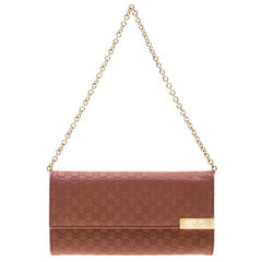 Gucci Pink Cinnamon Microguccissima Leather Wallet On Chain