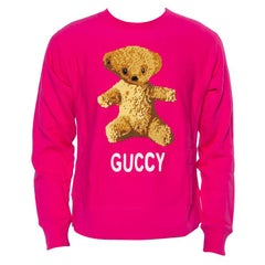Gucci Pink Cotton Teddy Bear Applique Crewneck Sweatshirt S