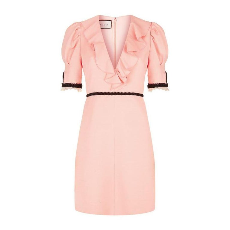 e2ab99f77 GUCCI Pink Crepe Silk Wool Cocktail Dress sz IT44 US 4-6 For Sale at ...