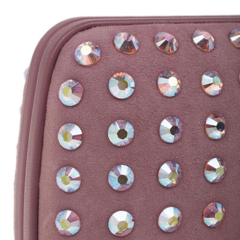 b6b8d74c9f4263 Gucci Pink Crystal Studs Suede Broadway Clutch For Sale at 1stdibs