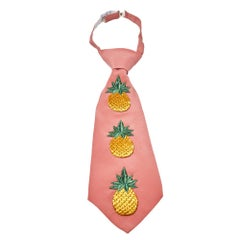 Gucci Pink Embroidered Pineapple Detail Silk Tie