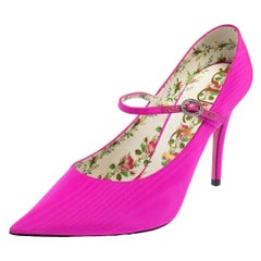Gucci Pink Fabric Virginia Mary Jane Pumps Size 38.5