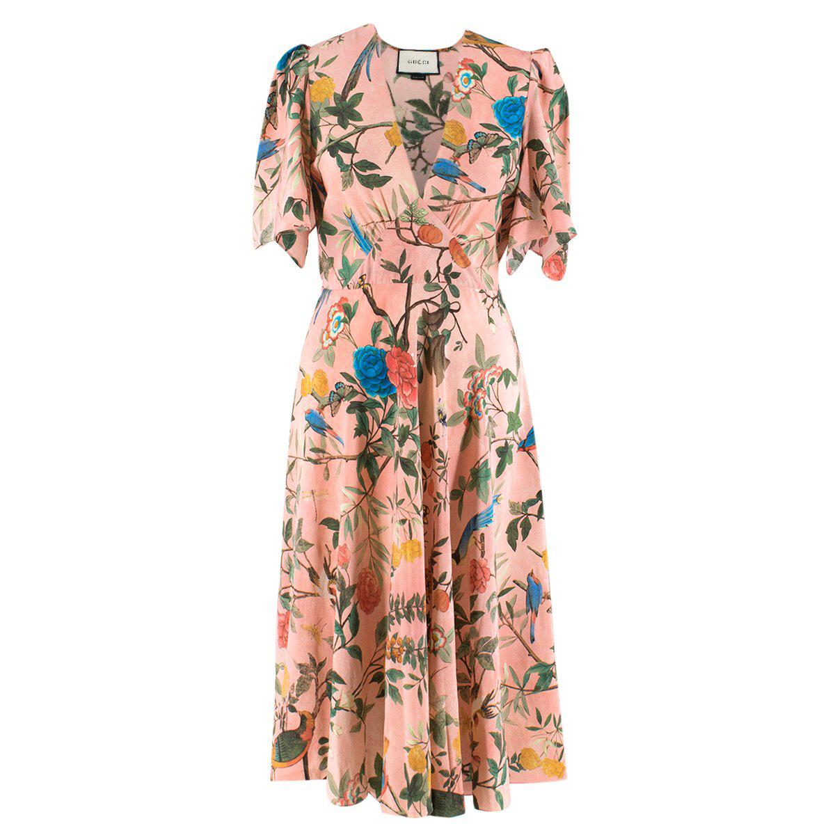 b8e712465 New Gucci Thistles and Birds Print Romantic Silk Watercolor Dress It. 40  For Sale at 1stdibs