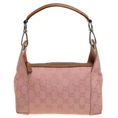 Gucci Pink GG Canvas and Leather Bag