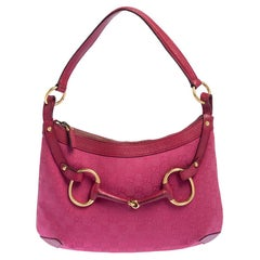 Gucci Pink GG Canvas And Leather Horsebit Hobo