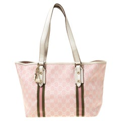 Gucci Pink GG Canvas and Leather Mini Jolicoeur Web Tote
