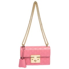 Gucci Pink Guccissima Leather Small Padlock Shoulder Bag