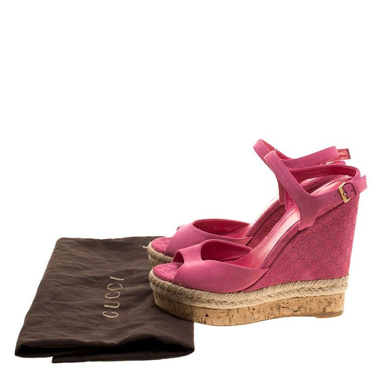 ae49cb796821 Women s Gucci Pink Guccissima Suede Cork Wedge Sandals Size 36 For Sale