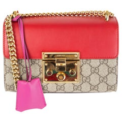 GUCCI pink hibiscus PADLOCK SMALL GG SUPREME Shoulder Bag