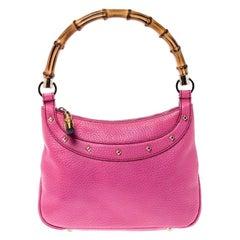 Gucci Pink Leather Anita Bamboo Hobo