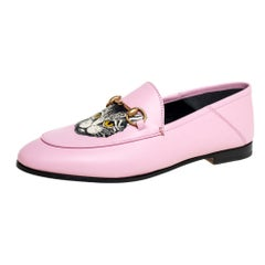 Gucci Pink Leather Brixton Cat Loafers Size 37