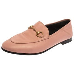 Gucci Pink Leather Brixton Horsebit Slip On Loafers Size 37.5