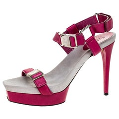 Gucci Pink Leather Buckle Detail Open Toe Platform Ankle Strap Sandals Size 39.5