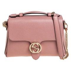 Gucci Pink Leather Dollar Interlocking GG Shoulder Bag