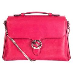 GUCCI pink leather DOLLAR INTERLOCKING MEDIUM Top Handle Bag
