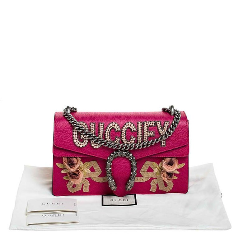 Gucci Pink Leather Guccify Pearl Dionysus Shoulder Bag For Sale 7