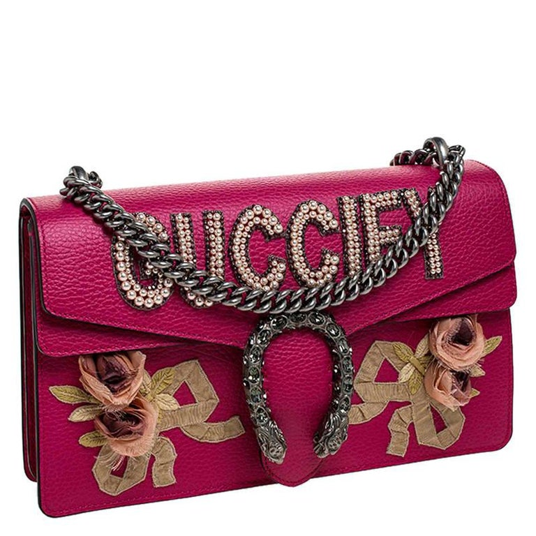 Gucci Pink Leather Guccify Pearl Dionysus Shoulder Bag For Sale 5