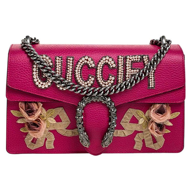 Gucci Pink Leather Guccify Pearl Dionysus Shoulder Bag For Sale