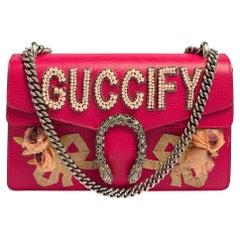 Gucci Pink Leather Guccify Pearl Embellished Dionysus Shoulder Bag