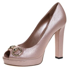 Gucci Pink Leather Horsebit Peep Toe Platform Pumps Size 38